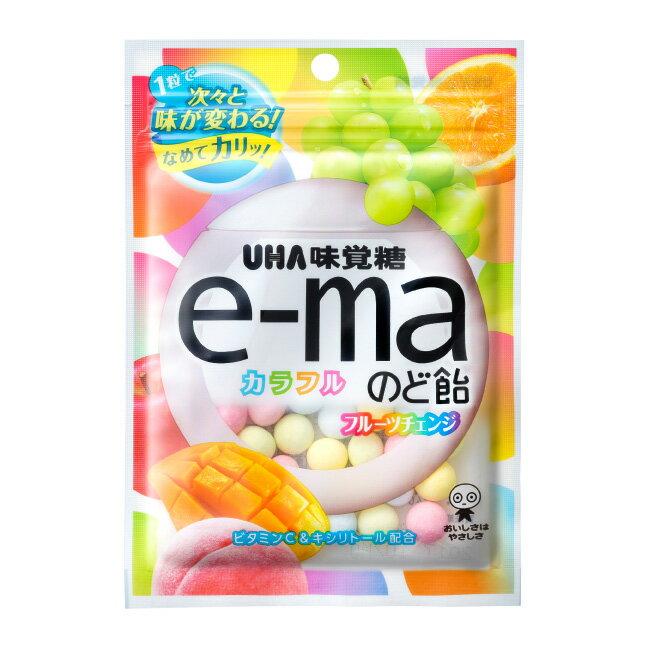 【UHA味覺糖】e-ma七彩水果喉糖-袋裝 50g e-maのど飴 カラフルフルーツチェンジ 日本進口糖果 3.18-4 / 7店休 暫停出貨 1