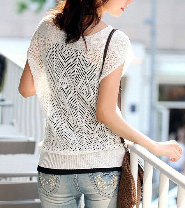 韓版背心針織衫 艾爾莎 小包袖鏤空洞洞薄款針織罩衫上衣【TAE2153】 1