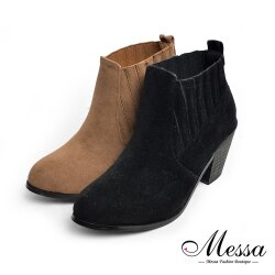 【Messa米莎專櫃女鞋】簡約歐風個性女人麂皮粗跟短靴-二色