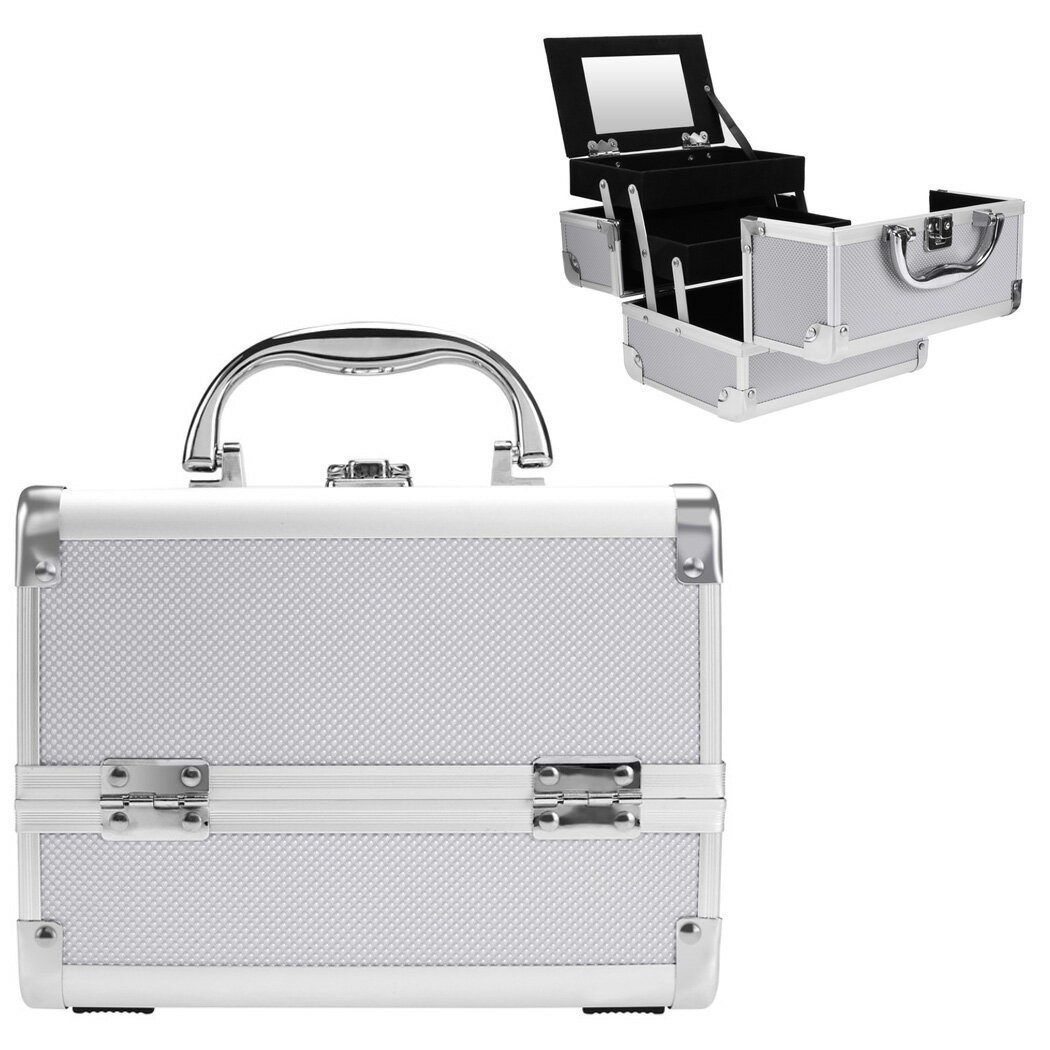 Makeup Travel Case Jewelry Box Lockable Cosmetic Organizer 0