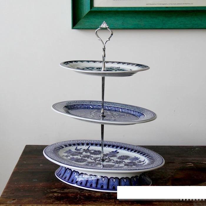青花瓷果盤三層古典美觀水果盤景德鎮陶瓷器家居擺件品