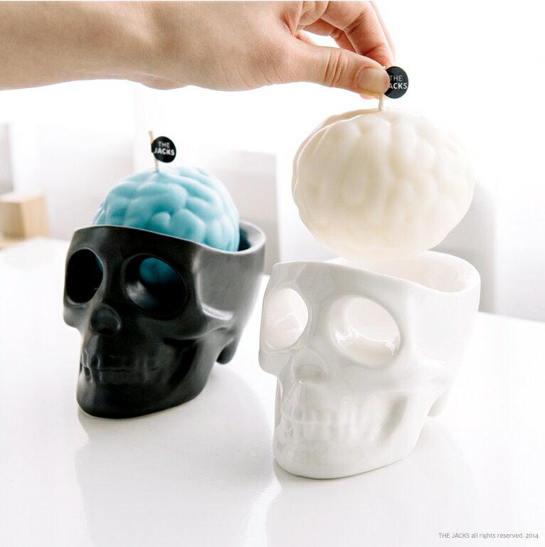 The Jacks 骷髏雙眼汪汪哭泣蠟燭組(黑色骷髏底座) Halloween 萬聖節 趣味又療癒陶製桌上收納小物  可種小植物綠化生活【Limiteria】