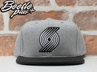 BEETLE MITCHELL&NESS BLAZERS SNAPBACK NBA 拓荒者 灰黑 刺繡 皮革 毛巾布 後扣棒球帽 MN-336