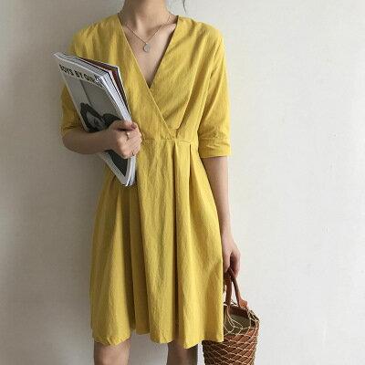 韓系女裝V領高腰五分袖中長款連身裙洋裝樂天時尚館。預購。[全店免運]