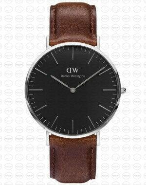 40MM 0131DW 黑錶面 真皮深咖啡錶帶 瑞典正品代購 Daniel Wellington 男錶手錶腕錶 0