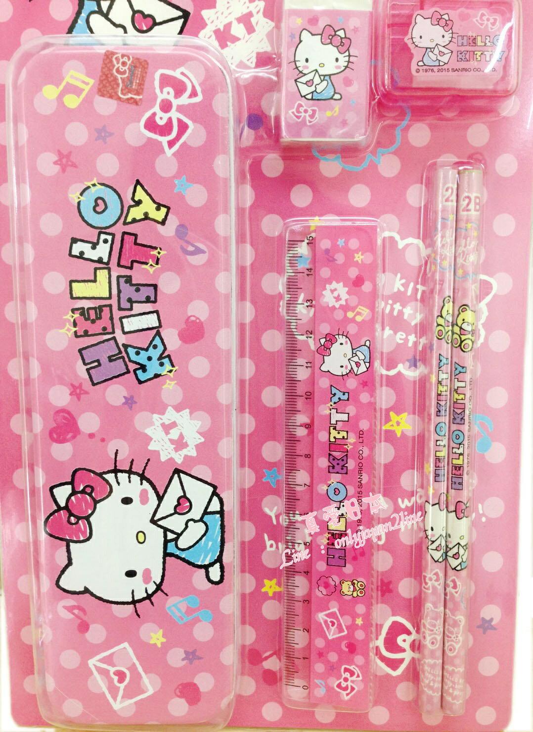 【真愛日本】160816000166件文具組-KT信封粉  三麗鷗 Hello Kitty 凱蒂貓  文具組 文具用品