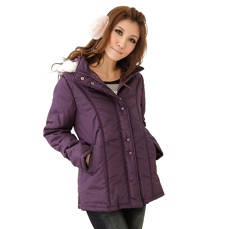 鋪棉外套--寒冷天氣的最佳造型單品-素面毛邊連帽鋪棉大衣 / 外套(黑.咖.紫M-2L)-J45眼圈熊中大尺碼 1