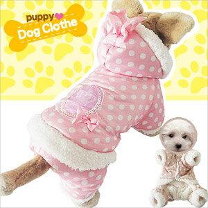 名媛淑女波點保暖寵物裝E118~A103^(寵物衣服寵物服裝寵物服飾店.毛小孩小狗衣服小貓