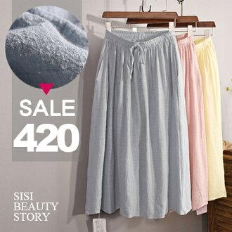SISI【P6023】輕盈質感舒適大裙襬棉麻長裙鬆緊高腰裙半身裙