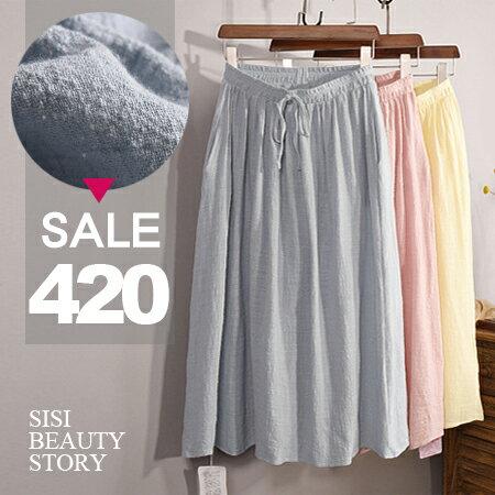 SiSi Girl:SISI【P6023】輕盈質感舒適大裙襬棉麻長裙鬆緊高腰裙半身裙