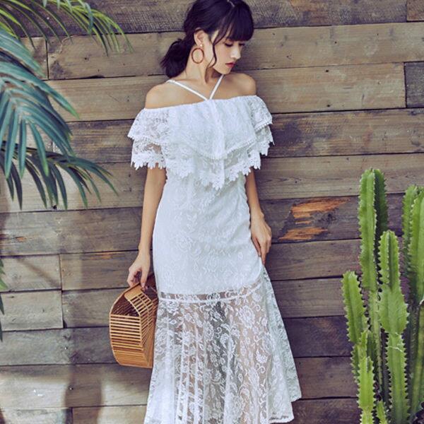 PSMall蕾絲白色連身裙名媛氣質一字肩長裙洋裝【T123】
