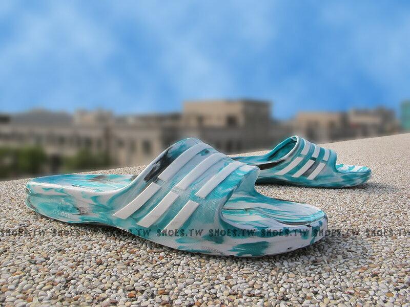 Shoestw【S77982】ADIDAS DURAMO SLIDE 拖鞋 一體成型 綠黑迷彩 女生尺寸