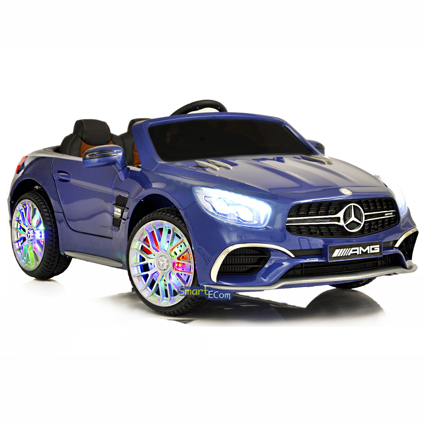 12v Mercedes Amg Sl65 Electric Ride On Car Battery For Kids Rc Mp4 Screen Led Blue