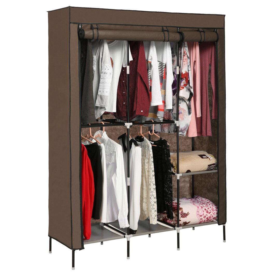Portable Clothes Closet Wardrobe Double Rod Closet Storage Organizer 2