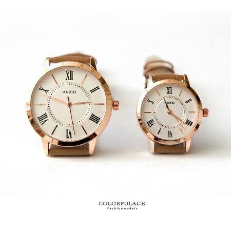 手錶 玫金圓框羅馬數字簡約小刻度 腕錶 復古風格錶款 色彩亮眼 柒彩年代~NE1392~單