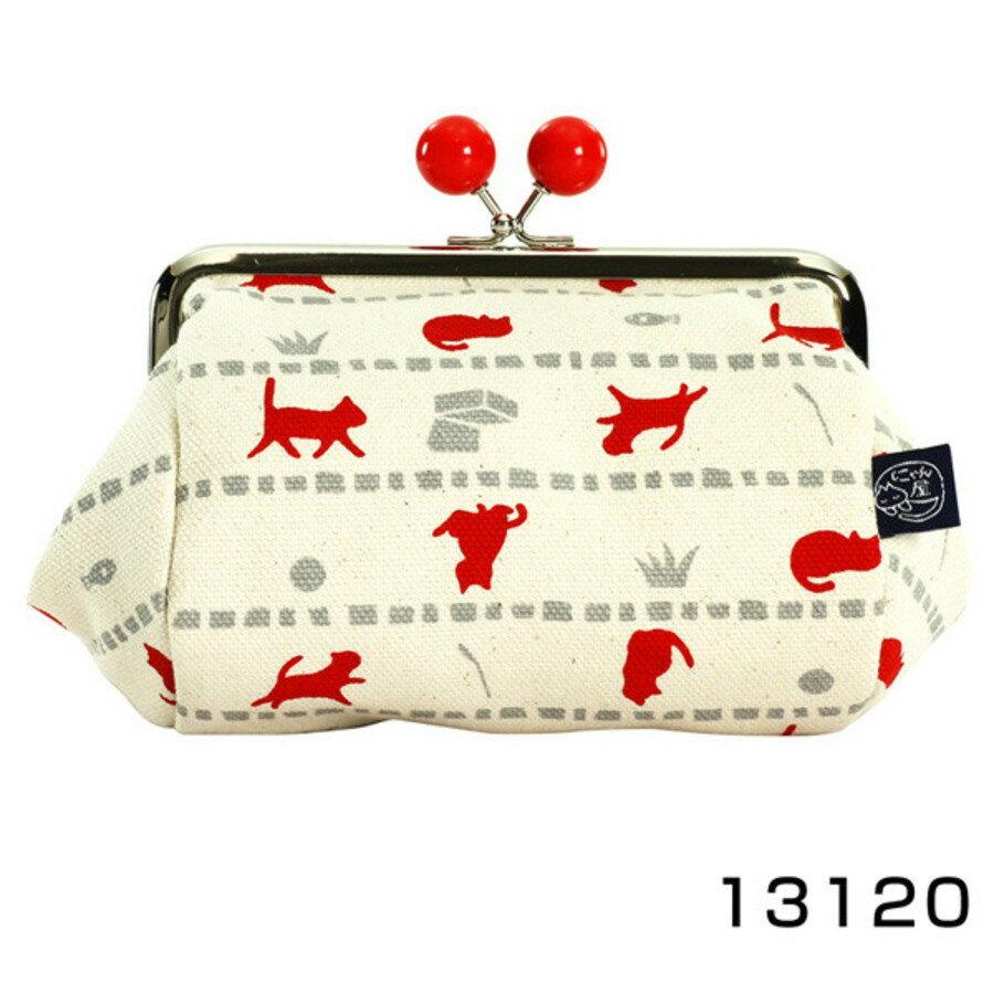 【日本製】貓帆布系列 寬底萬用零錢包 貓咪與寶物圖案 黑色 - 日本製 貓帆布系列