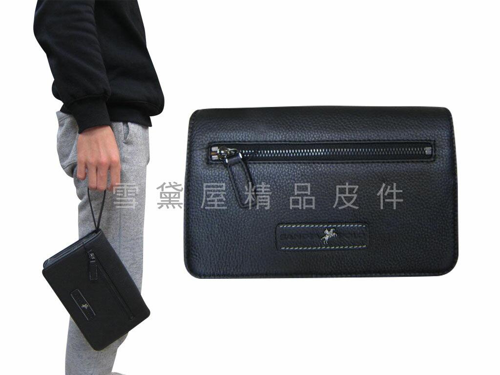 ~雪黛屋~SANDIA-POLO手拿包正版授權輕巧小型容量大皮夾型手拿包100%進口牛皮革隨身YPO035-12347