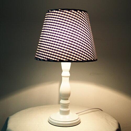 DeLife- 藍格子布燈罩古典燈桿桌燈 /  檯燈 E27 0