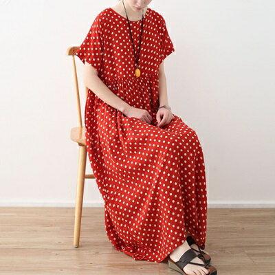 連身長裙寬版連衣裙-復古波點時尚亮麗女上衣73sm19【獨家進口】【米蘭精品】