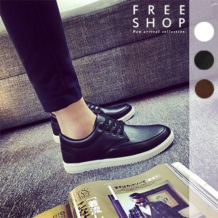 Free Shop 日韓街頭潮流感英倫風男款低筒低統厚底增高 休閒鞋波鞋百搭黑白色皮革鞋~