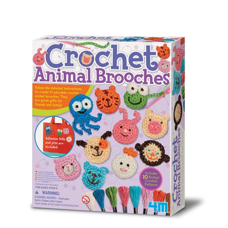 【4M】美勞創作系列-微笑小動物胸針 Crochet Animal Brooches 00-04669