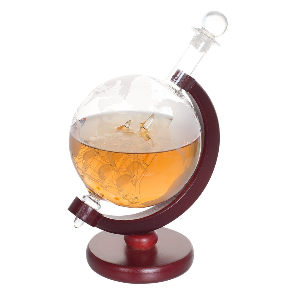 Whiskey 1000 ml Decanter For Spirits Or Wine Decorative Etched World Globe Glass Fiberboard Stand With Crafted Glass -Sailing Ship 5