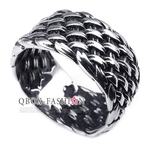 ~ QBOX ~FASHION 飾品~W10025246~精緻 編織紋路鑄造316L鈦鋼戒