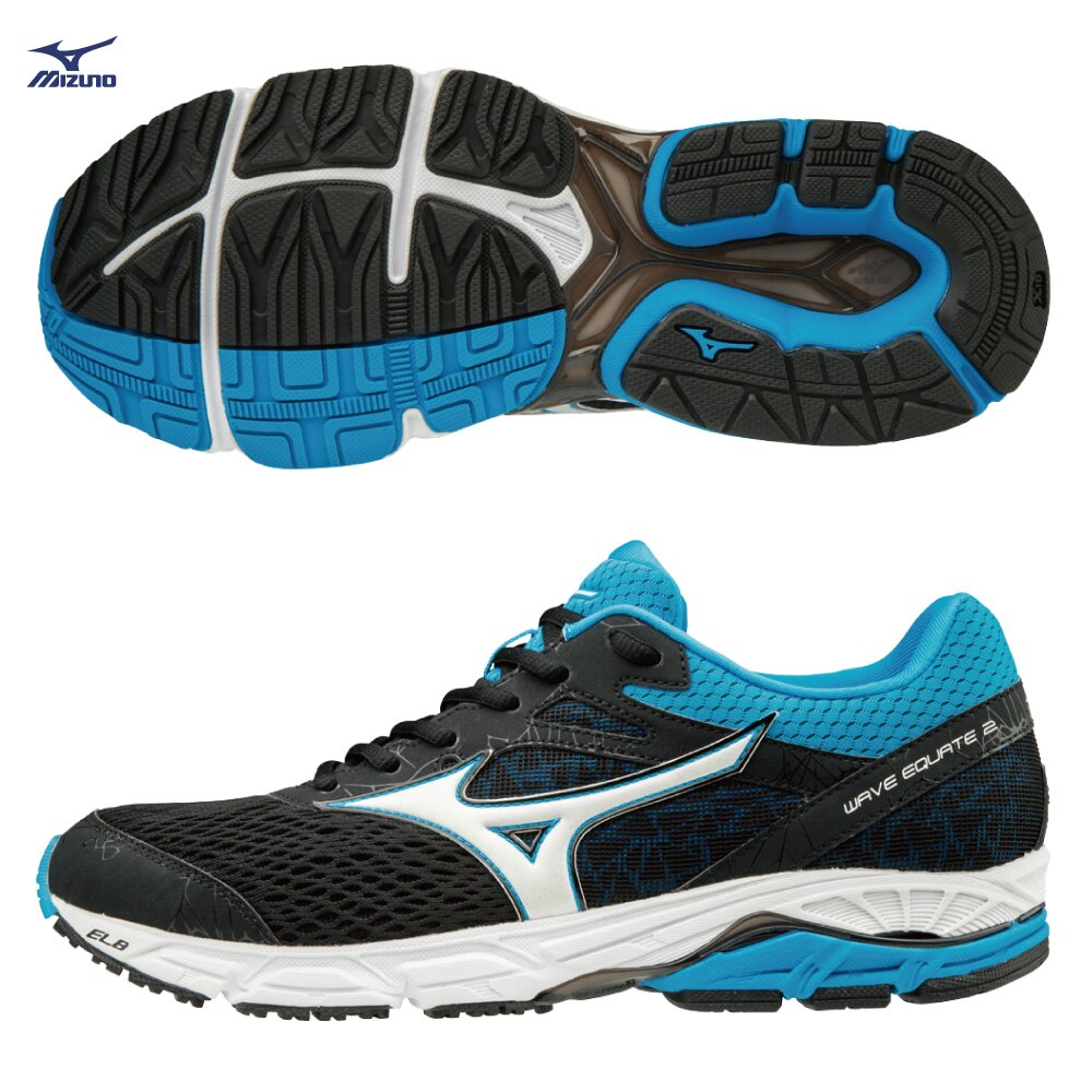 J1GC184801(黑X白X藍)中低足弓適用 WAVE EQUATE2 支撐型 男慢跑鞋 S【美津濃MIZUNO】