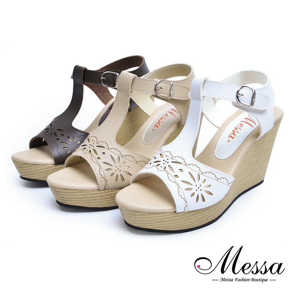 【Messa米莎專櫃女鞋】MIT氣質淑女簍空雕花楔型涼鞋-三色