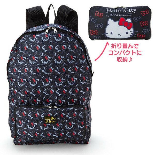 【真愛日本】17052700038 旅用可收納後背包-KT多圖紅結黑 三麗鷗 kitty 凱蒂貓 包包 後背包 書包