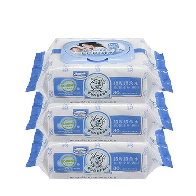Baan 貝恩嬰兒EDI超純水保養柔濕巾80抽-3入【悅兒園婦幼生活館】