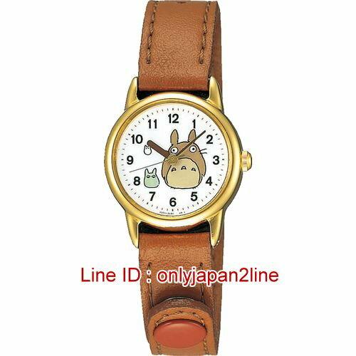 【真愛日本】16122200019雙龍貓圓型金邊棕皮帶手錶  龍貓TOTORO豆豆龍 手錶 鐘錶 日本帶回*預購