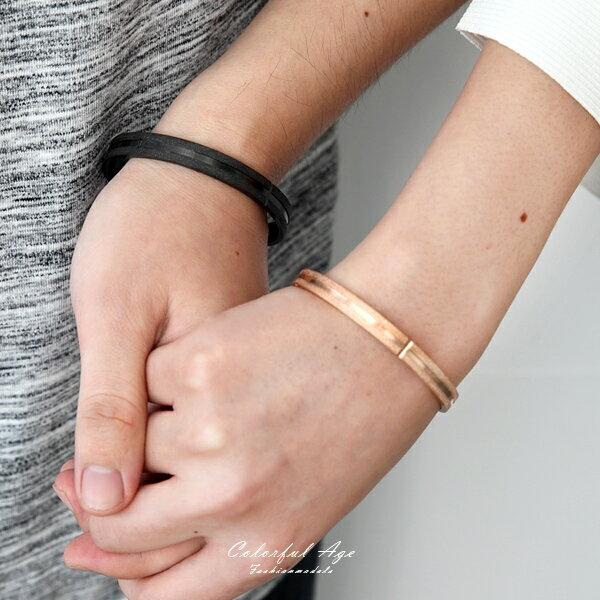 手鍊磨砂感線條鋼製手環【NA422】柒彩年代