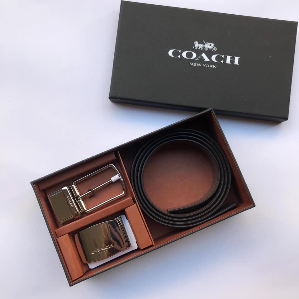 COACH 雙頭皮帶禮盒組(雙色 素黑 +素咖)