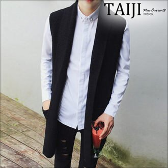 針織毛衣‧純色長版針織背心外套‧一色【NTJA16261】-TAIJI