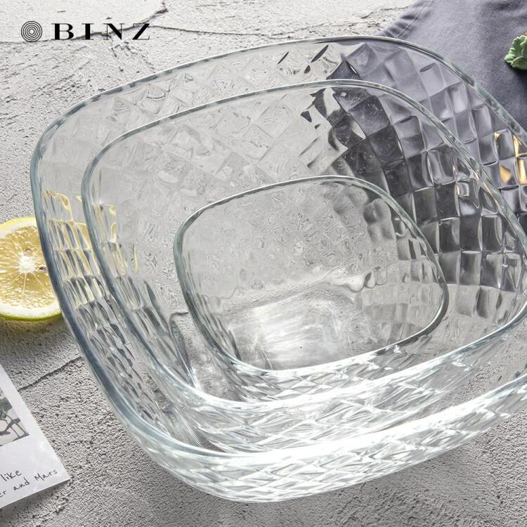 沙拉碗 玻璃碗家用歐式餐具簡約透明碗大號碗小號碗套裝水果沙拉碗燕麥碗
