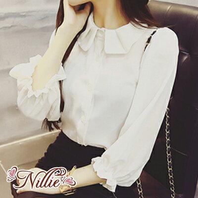Nillie‧氣質顯瘦娃娃領七分袖襯衫01/12(白/黑/紅)【N87145】現+預