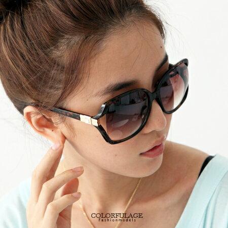 柒彩年代【NY151】夏日必備單品。側邊崁入方鑽玳瑁大框墨鏡太陽眼鏡 時尚好搭