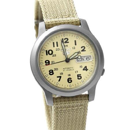 經典帆布SEIKO精工五號 卡其色軍用機械錶 裱背鏤空 自動上鍊手錶 柒彩年代【NE1492】原廠平輸