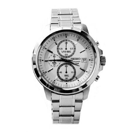SEIKO精工 銀白面板三眼指針設計石英腕錶 不鏽鋼手錶 柒彩年代【NE1509】原廠平行輸入