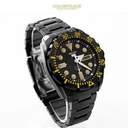 SEIKO精工5號盾牌 運動系列百米防水黑鋼黃字粗曠機械錶 不鏽鋼手錶 柒彩年代【NE1514】原廠平輸 0