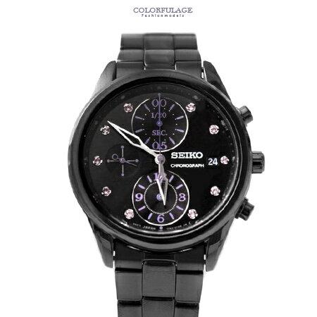 SEIKO精工 耀眼紫施華洛世奇晶鑽三眼計時腕錶 不鏽鋼手錶 柒彩年代【NE1517】原廠平行輸入 0