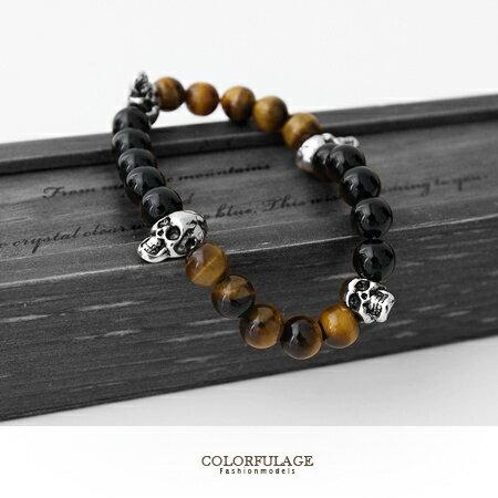 手環 骷髏串珠造型手鍊 復古瑪瑙獨特神秘感設計手鍊 柒彩年代【NA327】顆顆色澤亮光 0