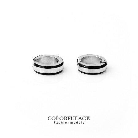 耳環 超實用雙黑線設計夾式免打耳洞耳環 白鋼材質抗過敏.氧化 柒彩年代【ND203】單支售價 0
