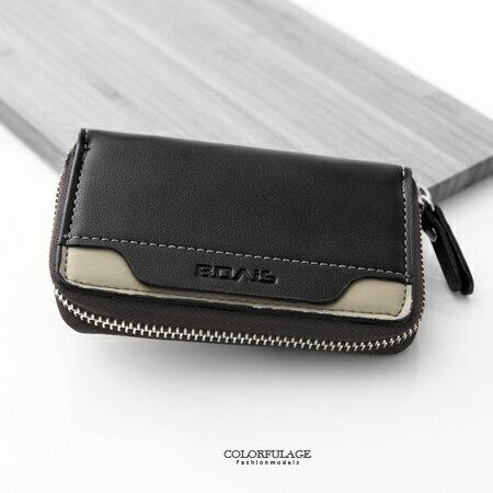 鑰匙包 簡約線條雙色皮革製作名片夾 大空間收納 可掛鑰匙及收納名片卡片 柒彩年代【NW415】配件