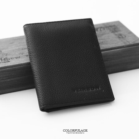 皮夾 都會風格 簡約素面全黑小版真皮短夾 錢包 簡單俐落設計 柒彩年代【NW419】贈禮盒.提袋