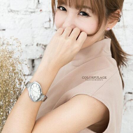 手錶 獨特不對稱橢圓 羅馬數字手環式腕錶 鑲鑽點綴氣質女錶 柒彩年代~NE1568~單支售