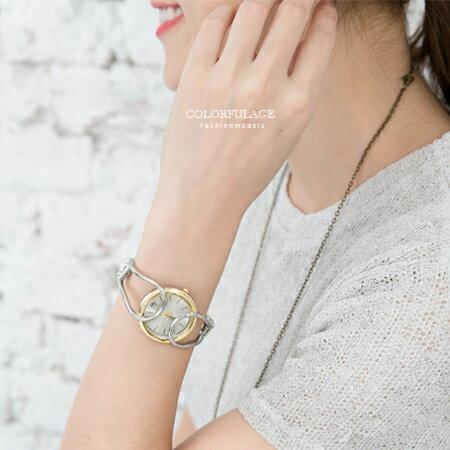 手錶 特殊鏤空細緻線條造型氣質女孩手環式腕錶 防撞鏡面設計 柒彩年代【NE1569】單支售價