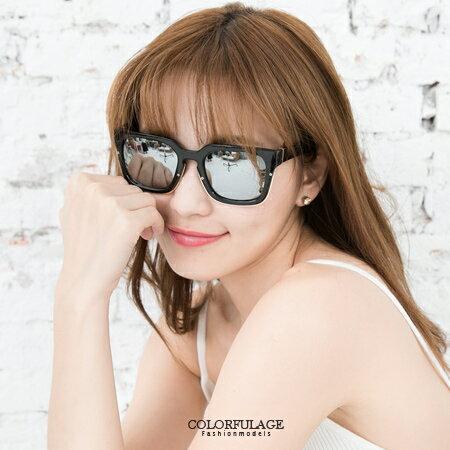 太陽眼鏡 時尚方形粗框金屬大鏡面變色反光墨鏡 中性設計 抗UV400 柒彩年代【NY305】單支價格 0