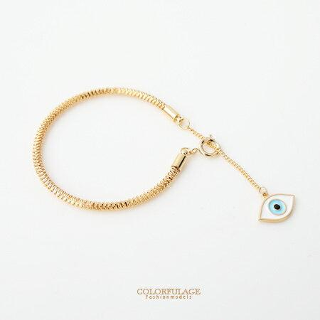 手鍊 時尚金色眼珠吊飾鋼索造型手鍊手環 個性甜美單品 約會首選 柒彩年代 【NA333】獨特配件